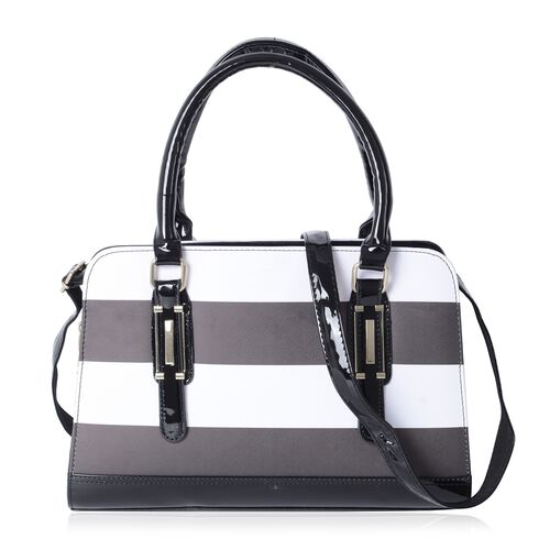 HONGKONG Close Out Black and White Colour Stripe Pattern Tote Bag with Removable Shoulder Strap (Siz