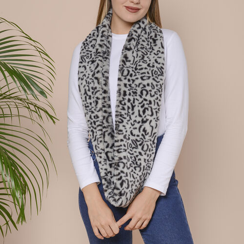 2 Piece Set - Zig Zag and Leopard Pattern Faux Fur Infinity Scarf  (Size 80x16 Cm) - Grey and Golden