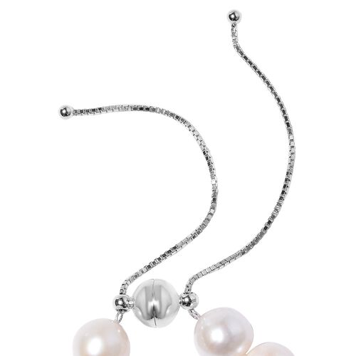 White Edison Pearl Necklace (Size 18 Adjustable) in Rhodium Overlay Sterling Silver
