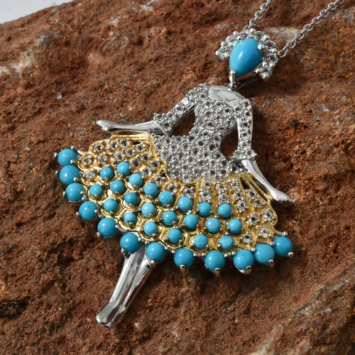 Limited Edition-  AA Arizona Sleeping Beauty Turquoise (Pear and Rnd), White Topaz Dancing Doll Pendant With Chain (Size 18) in Platinum and Yellow Gold Overlay Sterling Silver 5.250 Ct