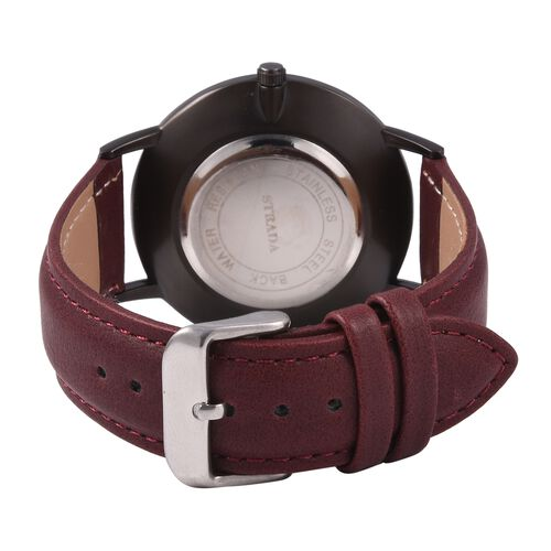 STRADA Japanese Movement Water Resistant White Austrian Crystal Studded Watch with Burgundy Colour Strap