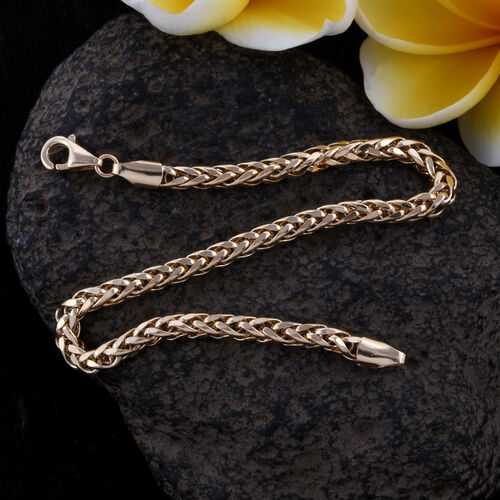 Royal Bali Collection 9K Yellow Gold Wheat Bracelet (Size 7) Gold Wt 3.30 Grams