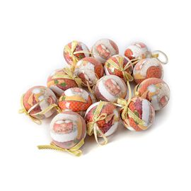 Set of 14 Home Decor Christmas Decoration Baubles Glasses and Gold Ribbon (Size 7.5 Cm) Multi Colour