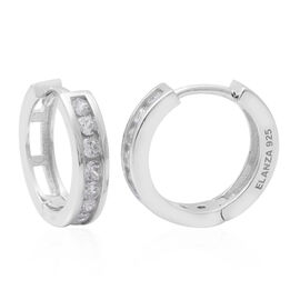 ELANZA Simulated Diamond (Rnd) Hoop Earrings (with Clasp Lock) in Rhodium Overlay Sterling Silver, S