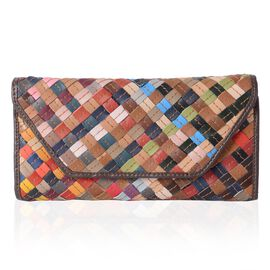 Morocco Collection 100% Genuine Leather Multi Colour Blocking Wallet (Size 19x9.5x2 Cm)