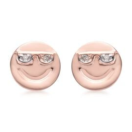 Diamond Happy Smiley Stud Earrings (with Push Back) in Rose Gold Overlay Silver, Silver wt 1.22 Gms