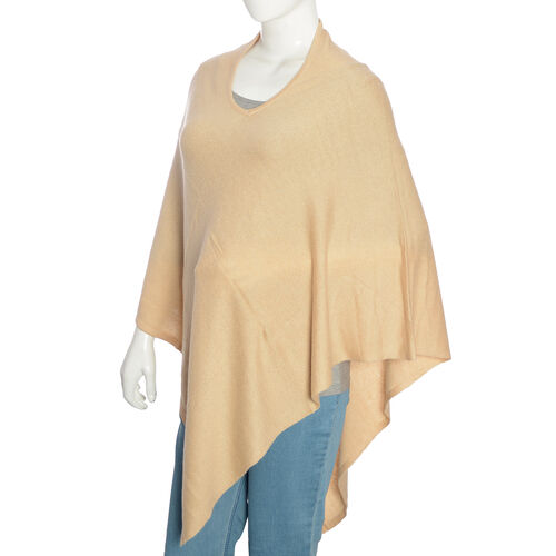 Limited Available - 100%  Cashmere Pashmina Wool Poncho - Beige (Free Size)