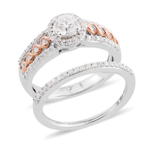 NY Close Out Set of 2 1 Carat Diamond Ring in 14K White and Rose Gold 6.60 Grams