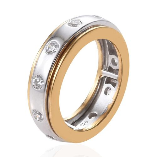 J Francis - Yellow Gold and Platinum Overlay Sterling Silver (Rnd) Spinner Ring Made with SWAROVSKI ZIRCONIA, Silver wt 6.07 Gms.