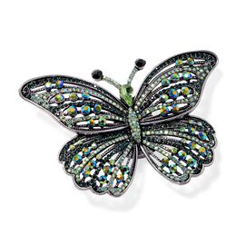 Multi Colour Austrian Crystal Butterfly Brooch or Pendant With Chain (Size 24) in Silver Plated