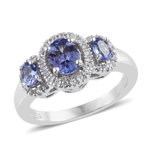 1.25 Ct Tanzanite and Zircon Trilogy Halo Ring in Platinum Plated Sterling Silver