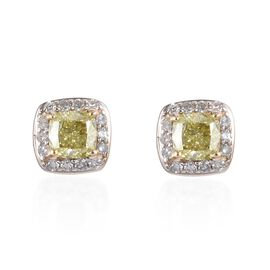 9K Yellow Gold Natural Yellow Diamond (Cush), White Diamond Stud Earrings (with Push Back) 0.72 Ct.