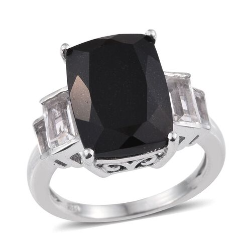 Australian Midnight Tourmaline (Cush 7.00 Ct), White Topaz Ring in Platinum Overlay Sterling Silver 8.250 Ct.
