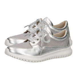 Caprice Leather Mesh Trainer - Silver