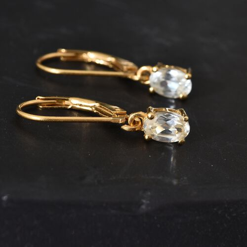 1.25 Ct Natural Cambodian Zircon Lever Back Earrings in Gold Plated Silver