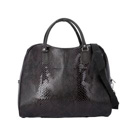 Snake Skin Pattern Tote Bag with Zipper Closure and Detachable Shoulder Strap (Size 43x23x39 Cm) - W