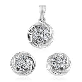 J Francis - Sterling Silver (Rnd) Stud Earrings (with Push Back) and Pendant Made with SWAROVSKI ZIRCONIA