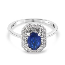 Tanzanian Blue Spinel and Natural Cambodian Zircon Ring in Platinum Overlay Sterling Silver 1.40 Ct.