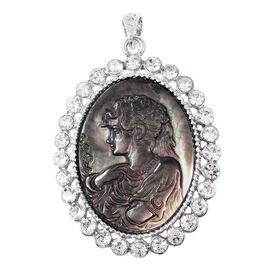 Cameo (Ovl), White Austrian Crystal Brooch or Pendant with Chain (Size 24) in Stainless Steel