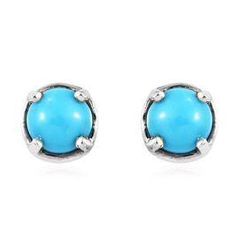 Arizona Sleeping Beauty Turquoise (Rnd) Stud Earrings in Platinum Overlay Sterling Silver 1.00 Ct.