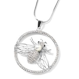 White and Black Austrian Crystal, Simulated Pearl Bee Pendant With Chain (Size 29 with 2 inch Extend