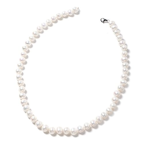 Limited Edition  Double Lustre Fresh Water White Pearl Necklace in 9K White Gold