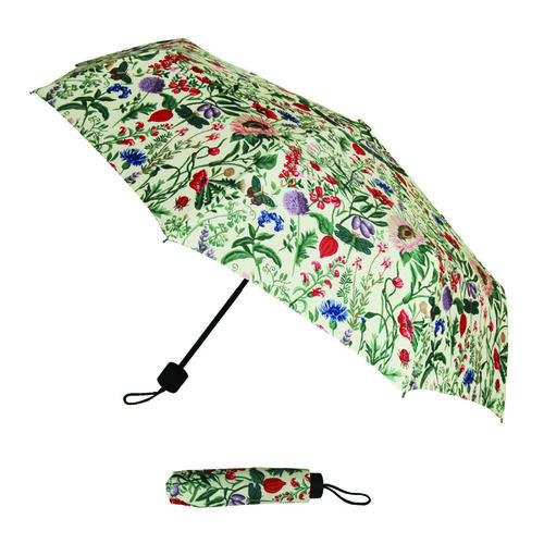 SIGNARE - 2 Piece Set Tapestry Shopping Bag with Matching Umbrella Botanical Gardens Flower - Morning Garden Design (Bag: 30 x 30x 14cms) (Umbrella: 24 x 5 x 5 cms)