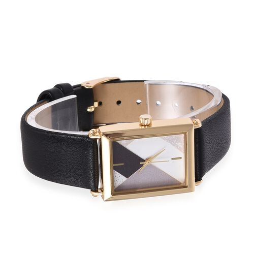 STRADA Japanese Movement Water Resistant Gold Plated Watch with Black Colour Strap.