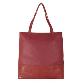 Assots London SIENNA Croc Leather Tote Bag in Paprika Red (Size 38x13x35 Cm)