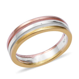 Designer Inspired- Platinum, Rose and Yellow Gold Overlay Sterling Silver Band Ring, Silver wt 3.50