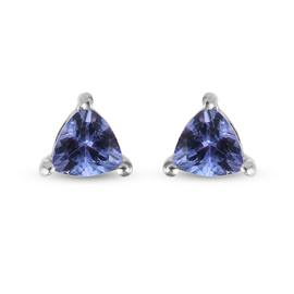 Tanzanite Stud Earrings (with Push Back) in Platinum Overlay Sterling Silver