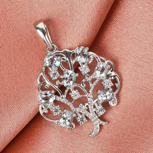 Santa Teresa Aquamarine and Natural Cambodian Zircon Tree Pendant in Platinum Overlay Sterling Silver 1.47 Ct.