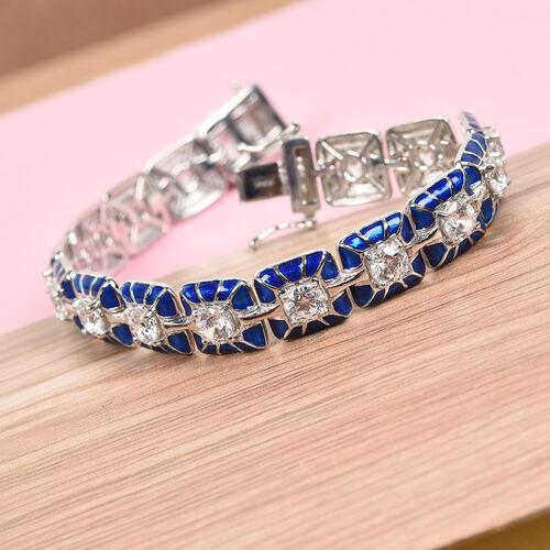 J Francis Platinum Over Sterling Silver Tennis Bracelet (Size 7.5) Made with SWAROVSKI ZIRCONIA 8.50 Ct, Silver wt. 22.00 Gms