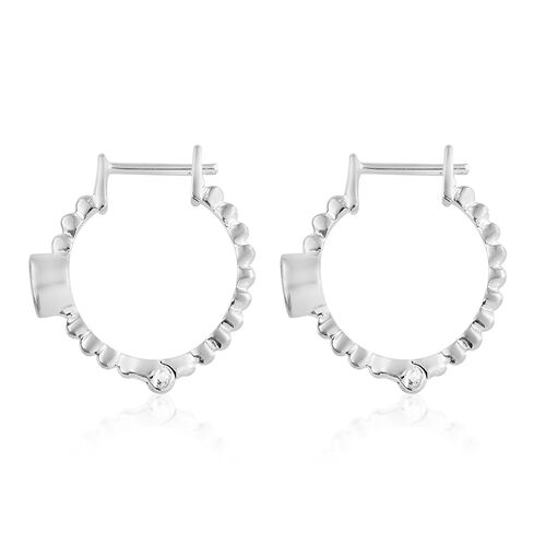 Orissa Rose Garnet (Rnd) Hoop Earrings (with Clasp Lock) in Sterling Silver 0.750 Ct.