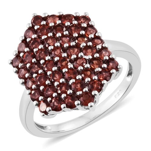 Mozambique Garnet 3 Ct  Silver Cluster Ring in Platinum Overlay
