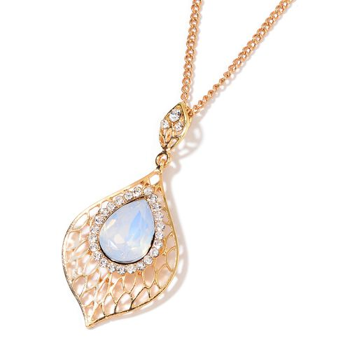 Simulated White Moonstone and White Austrian Crystal Necklace (Size 20 with 3 inch Extender) and Earrings (with Push Back) in Yellow Gold Plating
