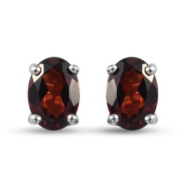 Red Garnet Stud Earrings (with Push Back) in Platinum Overlay Sterling Silver 1.98 Ct.