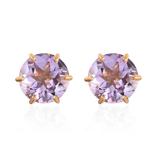 AA Pink Amethyst Solitaire Stud Earrings (with Push Back) in 14K Yellow Gold Overlay Sterling Silver