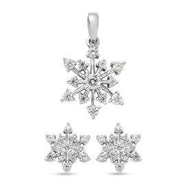 2 Piece Set Natural Cambodian Zircon Snowflake Pendant and Earrings in Platinum Plated Silver