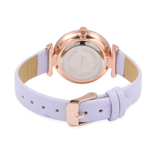 STRADA Japanese Movement White Austrian Crystal Studded Water Resistant Watch in Rose Gold Tone with Light Purple Colour Strap