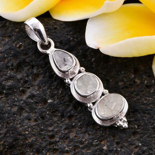 Royal Bali Collection - Polki Diamond Dangle Pendant in Sterling Silver 1.25 Ct.