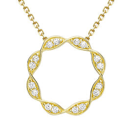 9K Yellow Gold Cubic Zirconia Twisted Circle Necklace (Size 16 with 2 inch Extender)