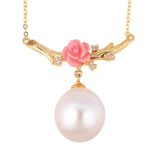 Edison Pearl (23.00 Ct),Pink Mother of Pearl,White Zircon Sterling Silver Necklace (Size 18)  24.720