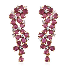 African Ruby (Pear), Natural Cambodian Zircon Floral Earrings (with Push Back) in 14K Gold Overlay Sterling Silver 9.500 Ct,