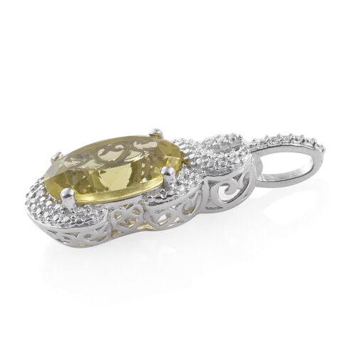 Natural Green Gold Quartz (Ovl), Diamond Pendant in Platinum Overlay Sterling Silver 5.750 Ct.