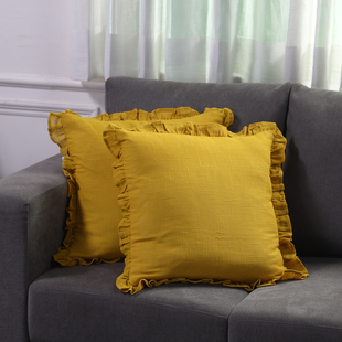 Set of 2  Cottton Linen Solid Cushion Cover with Ruffled Flange - Teal