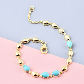 LucyQ Arizona Sleeping Beauty Turquoise Drop Bracelet (Size - 7.5) in Yellow Gold Overlay Sterling Silver 2.65 Ct.