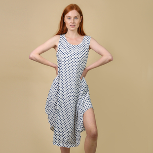 Nova of London Polka Dot Asymmetric Hem Dress - White and Navy