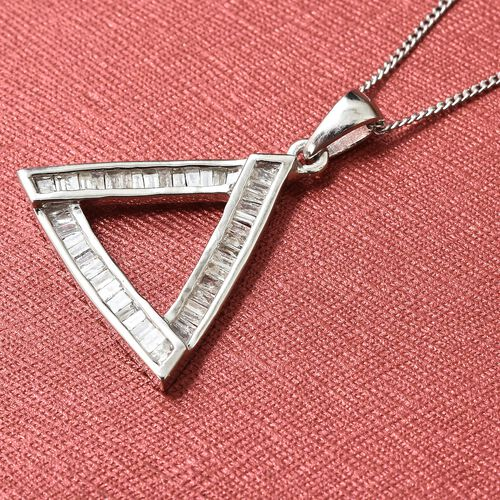 Designer Inspired - Diamond (Bgt) Pendant with Chain in Platinum Overlay Sterling Silver 0.500 Ct.