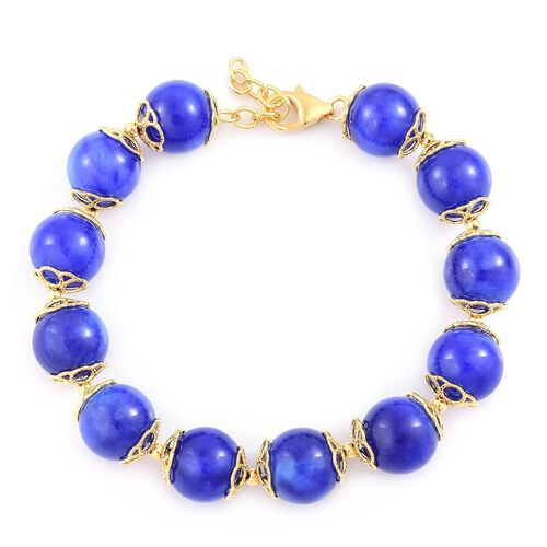 Limited Edition - Blue Jade Ball Beads Bracelet (Size 8 with 1 inch Extender) in Yellow Gold Overlay Sterling Silver 179.500 Ct. Silver wt 5.88 Gms.